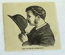 1880 magazine engraving ~ The Pin-Head Experiment vision, man with hat