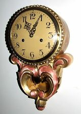 Antique Style Cartel Wall Clock Pink & Gilt Decorative Finish Shabby Chic