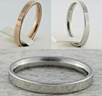 3mm Stainless Steel Rose Gold Silver Plated Mens & Womens Wedding Band New Ring
