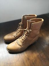 Justin Mens 10 D Lacers Tan Leather Lace Up Cowboy Work Roper Boots