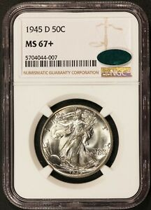 1945-D U.S. Walking Liberty Half Dollar 50 Cents Silver Coin - NGC MS 67+ CAC