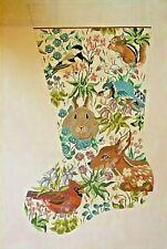 Handpainted needlepoint canvas large Christmas Stocking, Katherine Parfet 18ct