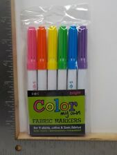 Sei Color My Own Fabric Markers Bright 6 Pack Tshirts Cotton Linen New A10394