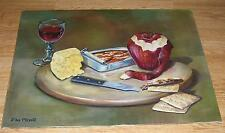 VINTAGE RED WINE GLASS TIN SARDINES FISH SWISS CHEESE APPLE STILL LIFE PAINTING