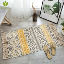 Traditional Area Rug Carpet Hand Woven Cotton Bedside Rug