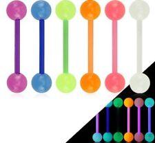6er Set Zungenpiercing aus Kuststoff PTFE Bio Flex Glow in the Dark Barbell