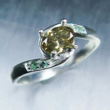 0.63ct Natural Diamond Champagne brown oval &alexandrite 9ct 375 white gold ring