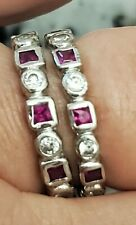Bands in Sterling Silver Created Ruby & Cz Eternity