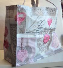 LARGE Handmade Bonded Cotton/Vinyl Tote bag 38cm x34cmc14cm  - Pink Crochet Love