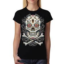 Floral Skull Women T-shirt S-3XL New