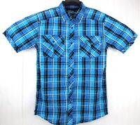 No Fear Mens M Medium Shirt Aqua Blue Plaid Snap Button Short Sleeve 90s Skater