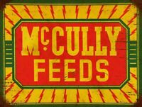 """MCCULLY FEEDS FARM ANIMAL FEED 16"""" HEAVY DUTY USA MADE METAL ADVERTISING SIGN"""