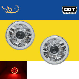 """5-3/4"""" Inch Round LED Red Halo Crystal Angel Eye Projector Headlights Lamp Pair"""