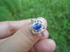 Natural SAPPHIRE September Birthstone 925 STERLING SILVER Flower RING S8.75