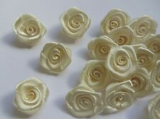 "3/4"" Light Ivory (Antique White) Satin Ribbon Roses Flower-50 Pcs-R0017I"
