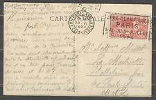 FRANCE 1924 Olympic Games Paris Olympic stamp and cancel R. de Clignancourt 20/6