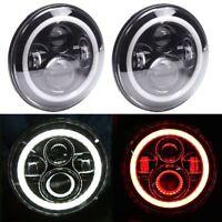 "7"" LED Headlights White Red Halo Angle Eyes For Jeep 97-2017 Wrangler JK LJ TJ"