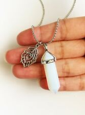 Opal Opalite Point Necklace Peacock Feather Charm Imitation Crystal Silver Boho