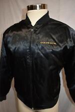 Vintage Gold's Gym Black Satin Nylon Jacket Body Building Medium