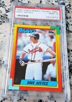 DAVE JUSTICE 1990 Topps GLOSSY TIFFANY SP Rookie Card RC PSA 9 Braves Yankees $$