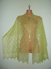 Stunning 50% cashmere/ 50% silk  lace shawl/scarf.  col. LIME green