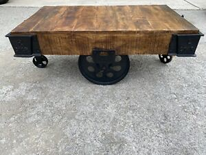 UNIQUE, RUSTIC WOOD/WROUGHT IRON COFFEE TABLE