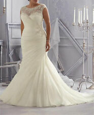 Plus Size Ruched Mermaid Wedding Dress Bridal Gown Custom 16 18 20 22 24 26 28+