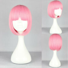 Women's BOB Wig Full Straight Bangs Cosplay Party Lady Short Hair PINK~