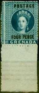 Grenada 1881 4d Blue SG26 Fine & Fresh Mtd Mint Bottom Marginal