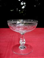 BACCARAT FOUGERES TALL SHERBET GLASS COUPE A CHAMPAGNE CRISTAL GRAVÉ ART NOUVEAU