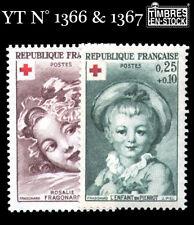 1962 - FRANCE YT N°1366 & 1367 NON OBLITÉRÉS CROIX ROUGE !!!