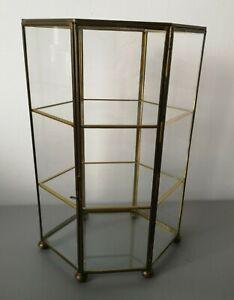Glass with Brass Trim Miniature Curio Display Cabinet/Case