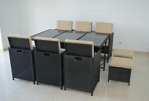 Poly Rattan Essgruppe 6 x Stuhl + 4 x Hocker + 1 Tisch Sitzgruppe Gartengarnitur