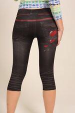 DENIM Print 3/4 CROP Spandex Leggings Clubwear Sz S NWT