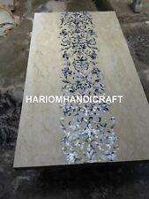 6'x3' White Marble Dining Table Top Pauashell Rare Art Inlay Interior Decor E334