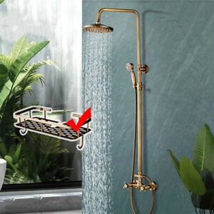 Antique Brass Rainfall Shower Taps System Set with Hand Shower Dual Knobs Mixer