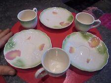 Service à Café Thé 3 Tasses & Soucoupes Tel Barbotine Fleurie Style Osier Tréssé
