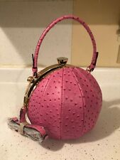 Beautiful (Unbranded) Large Pink Faux Leather Pumpkin Handbag Trimmed in Gold