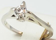 14k White Gold  Ring With Single Solitaire Diamond