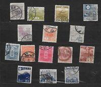 15 Very Old VINTAGE Stamps JAPAN Chrysanthemum,5 SEN-$5,  Pagoda  NICE USED