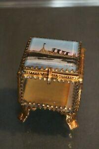 -dose Schmuck Alle Seitig Verglast Gestell Metall Vergoldet Dampfer France Havre