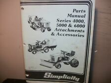 SIMPLICITY PARTS MANUAL FOR  4000,5000,6000 ATTACHMENTS&ACCESSORIES