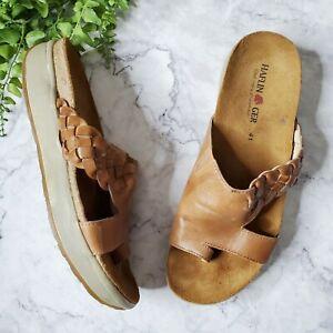 Haflinger Cognac Brown Leather Toe Loop Braided Footbed Slide Sandals 41 10.5