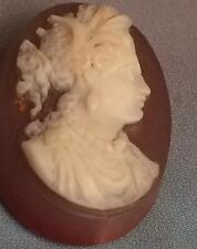 CAMEO STONE CORNALINE 2 COLOR RING JEWEL WOMAN PORTRAIT ANTIQUE  XIX ITALIE CAME