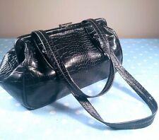 Nine West Black Faux Vinyl Handbag / Purse / Pocketbook / Frame Bag