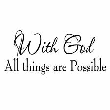 With God All Things Are Possible Faith Wall Decals Religious Quotes Family Scrip
