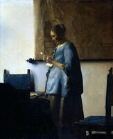 Huge art Oil painting Johannes Vermeer - Woman Reading a Letter on canvas 36""