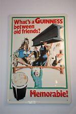 """3D Panneau métallique Bière Guinness 20x30 cm """" OLD FRIENDS MÉMORABLE"""" Irlande"""