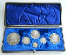 More details for 1893 victoria proof six coin silver set crown-threepence with box
