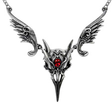ALCHEMY RAVEN SKULL PENDANT NECKLACE Masque of Black Rose Bird Wings Red Gothic